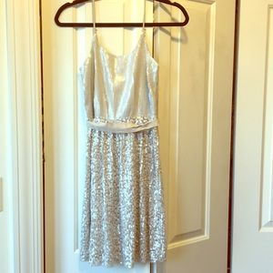 Express beige sequin mini dress. Never worn.